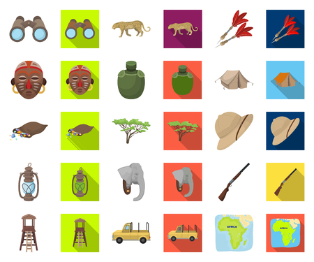 African Safari cartoon,flat icons in set collection for design. Trophies and equipment for Safari vector symbol stock web illustration.