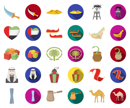 Country United Arab Emirates cartoon,flat icons in set collection for design. Tourism and attraction vector symbol stock web illustration.