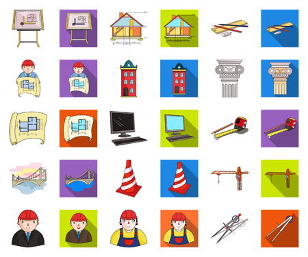 Architecture and construction cartoon,flat icons in set collection for design. Architect and equipment vector symbol stock web illustration. Ilustração