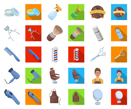 Barbershop and equipment cartoon,flat icons in set collection for design. Haircut and shave vector symbol stock web illustration. Vettoriali