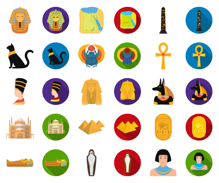 Ancient Egypt cartoon,flat icons in set collection for design. The reign of Pharaoh vector symbol stock web illustration.