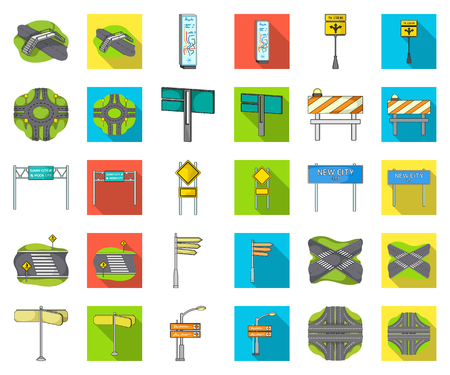 Road junctions and signs cartoon,flat icons in set collection for design.Pedestrian crossings and signs vector symbol stock illustration. 스톡 콘텐츠 - 124994396