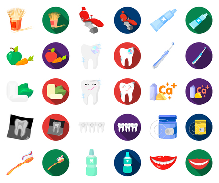 Dental care cartoon,flat icons in set collection for design. Care of teeth vector symbol stock web illustration.