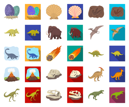 Diversi dinosauri cartoon,icone piatte in insieme di set per il design. Animale preistorico simbolo d'archivio web di vettore. Vettoriali