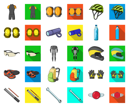 Bicycle outfit cartoon,flat icons in set collection for design. Bicycle and tool vector symbol stock web illustration.