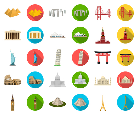 Sights of different countries cartoon icons in set collection for design. Famous building vector symbol stock illustration. Ilustrace