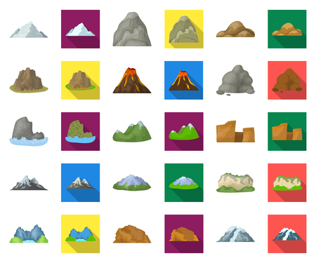 Different mountains cartoon,flat icons in set collection for design.Mountains and landscape vector symbol stock web illustration.