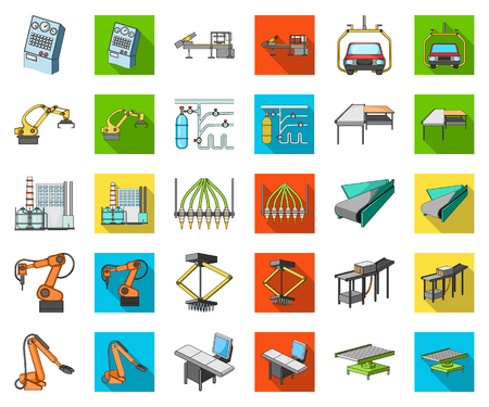 Equipment and machine cartoon,flat icons in set collection for design. Technical progress of the factory vector symbol stock illustration.