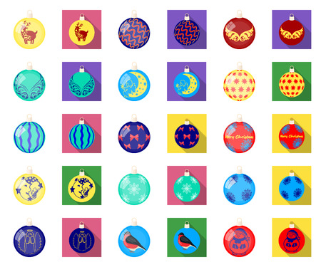 Christmas toys cartoon,flat icons in set collection for design.New Year balls vector symbol stock illustration. Illustration
