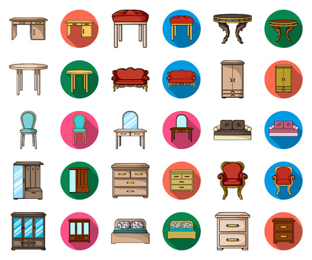 Furniture and interior cartoon,flat icons in set collection for design.Home furniture vector symbol stock web illustration.