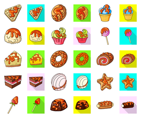 Vector illustration of dessert and sweet icon. Collection of dessert and food stock symbol for web. Banco de Imagens - 124994400
