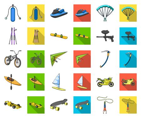 Dibujos animados de deportes extremos, iconos planos de colección set de diseño.Diferentes tipos de deportes vector símbolo stock web ilustración.