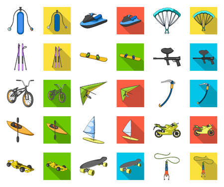 Extreme Sportkarikatur, flache Ikonen in der Satzsammlung für Design Verschiedene Arten von Sportvektorsymbolvorrat-Netzillustration.