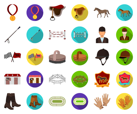 Hippodrome and horse cartoon,flat icons in set collection for design. Horse Racing and Equipment vector symbol stock web illustration. Ilustração