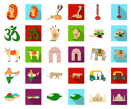 Country India cartoon,flat icons in set collection for design.India and landmark vector symbol stock web illustration.