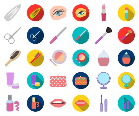 Trucco e cosmetici icone piane in insieme di set per il disegno del fumetto. Trucco e attrezzature simbolo d'archivio web di vettore.