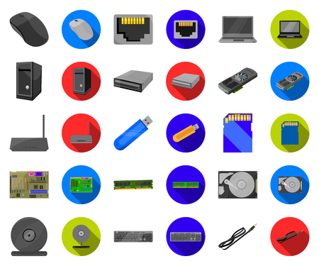 Personal computer cartoon,flat icons in set collection for design. Equipment and accessories vector symbol stock web illustration.