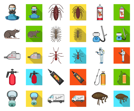 Pest, poison, personnel and equipment cartoon,flat icons in set collection for design. Pest control service vector symbol stock web illustration. Vectores