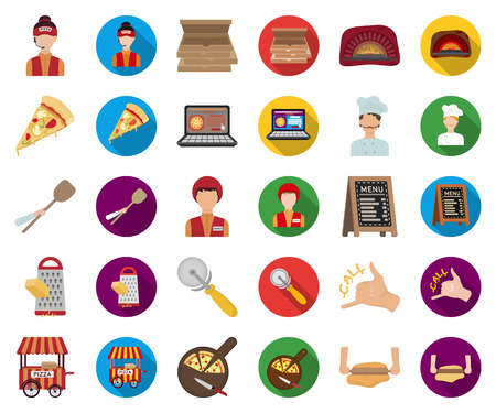 Pizza and pizzeria cartoon,flat icons in set collection for design. Staff and equipment vector symbol stock web illustration.