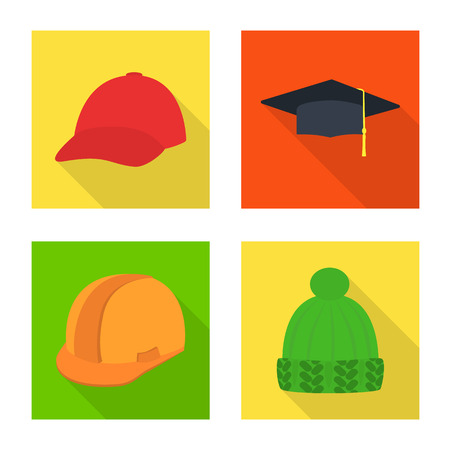 Vector design of fashion and profession symbol. Set of fashion and cap stock symbol for web. 向量圖像