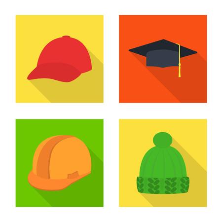 Vector design of fashion and profession symbol. Set of fashion and cap stock symbol for web. Ilustração