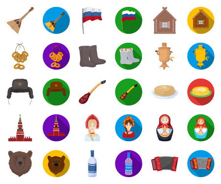 Country Russia, travel cartoon,flat icons in set collection for design. Attractions and features vector symbol stock web illustration.