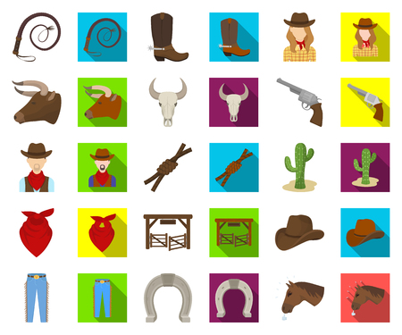 Rodeo, competition cartoon,flat icons in set collection for design. Cowboy and equipment vector symbol stock web illustration. Ilustração