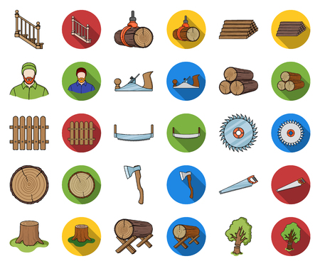 Sawmill and Timber cartoon,flat icons in set collection for design. Hardware and Tools vector symbol stock web illustration.