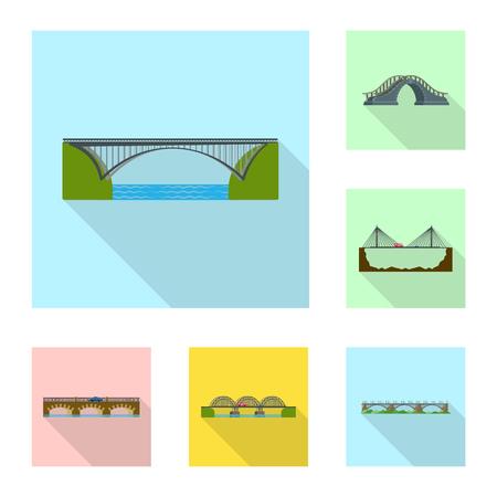 Vector illustration of bridgework and bridge logo. Collection of bridgework and landmark stock vector illustration.