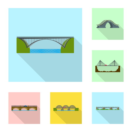 Vector illustration of bridgework and bridge logo. Collection of bridgework and landmark stock vector illustration.