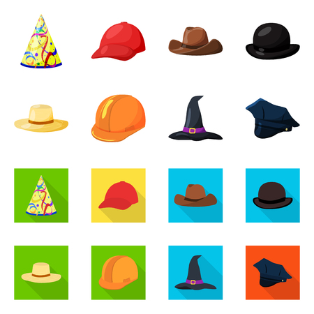 Vector design of clothing and cap symbol. Collection of clothing and beret stock symbol for web. Иллюстрация