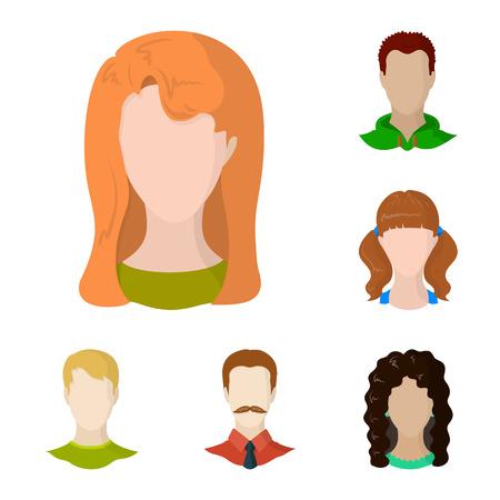 Vector illustration of avatar and dummy logo. Set of avatar and figure stock vector illustration.
