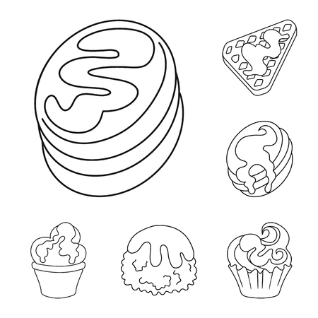 Isolated object of sweet and product icon. Set of sweet and caramel stock symbol for web.  イラスト・ベクター素材