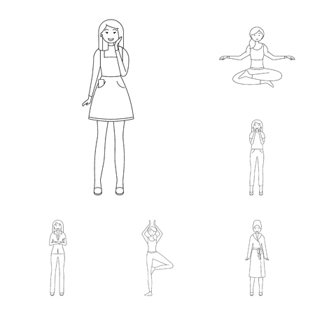 Vector design of posture and mood icon. Set of posture and female stock symbol for web.