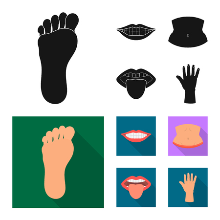 Vector design of body and part sign. Collection of body and anatomy vector icon for stock. Banco de Imagens - 124994430