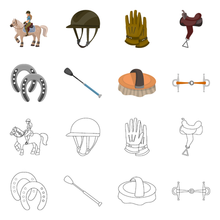 Vector illustration of equipment and riding sign. Collection of equipment and competition vector icon for stock.