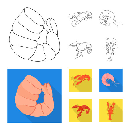 Isolated object of appetizer and ocean icon. Set of appetizer and delicacy vector icon for stock.