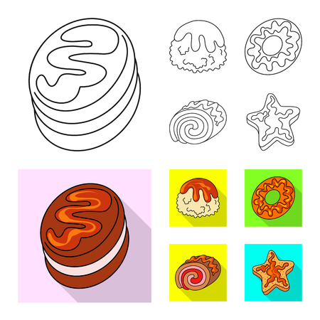 Vector illustration of confectionery and culinary symbol. Collection of confectionery and product stock symbol for web. Banco de Imagens - 124994446