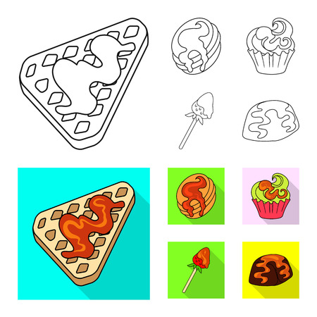 Isolated object of confectionery and culinary icon. Collection of confectionery and product vector icon for stock.