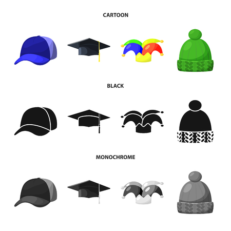 Vector illustration of clothing and cap logo. Collection of clothing and beret stock symbol for web.