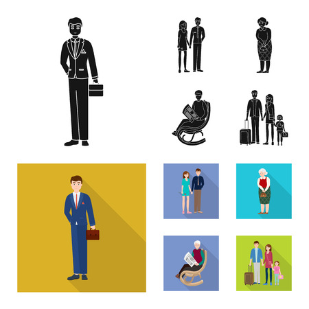 Isolated object of character and avatar  icon. Set of character and portrait stock symbol for web.
