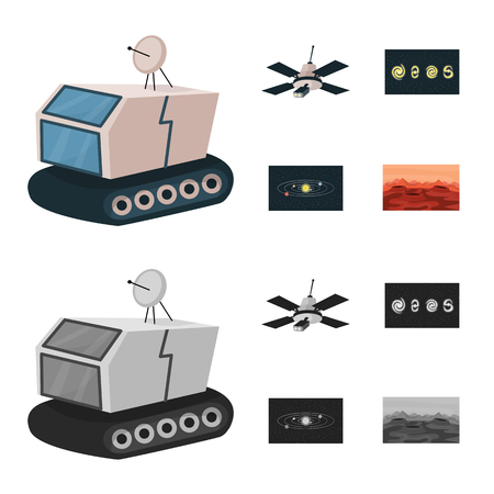 Vector illustration of astronomy and technology sign. Set of astronomy and sky stock symbol for web.