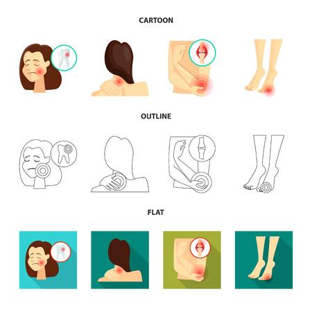 Vector illustration of hospital and rendering icon. Set of hospital and help vector icon for stock. Ilustração