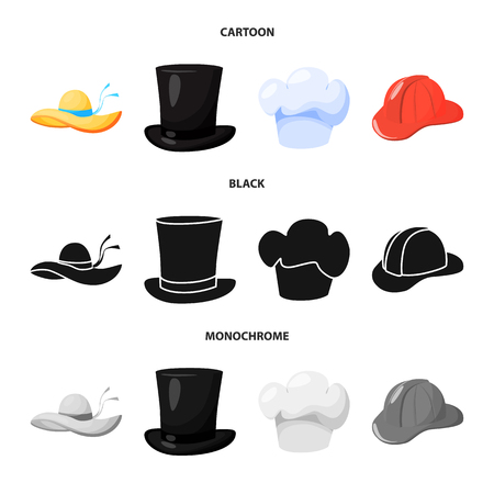 Isolated object of clothing and cap symbol. Set of clothing and beret vector icon for stock.
