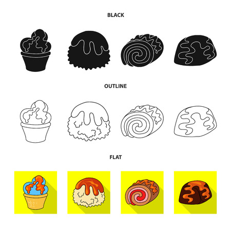 Isolated object of confectionery and culinary icon. Collection of confectionery and product stock vector illustration.