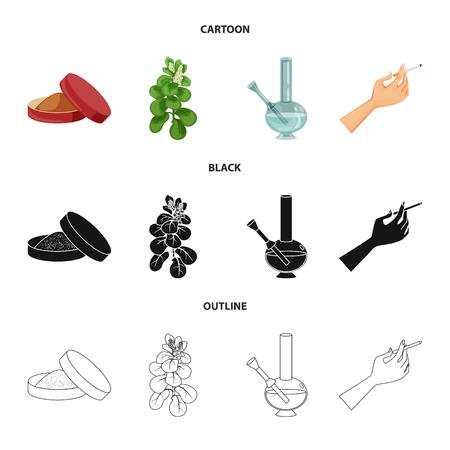 Ilustración de vector de icono de parada y basura. Conjunto de símbolo de stock de basura y hábito para web.