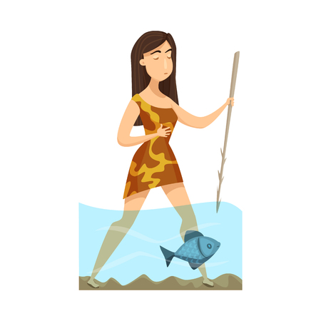 Vector design of woman and neanderthal icon. Set of woman and fish stock vector illustration. Ilustração