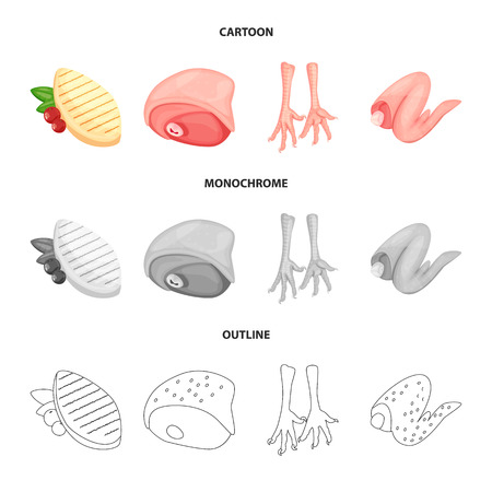 Vector design of product and poultry logo. Set of product and agriculture    vector icon for stock.