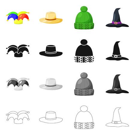 Vector illustration of clothing and cap symbol. Collection of clothing and beret stock symbol for web. Иллюстрация