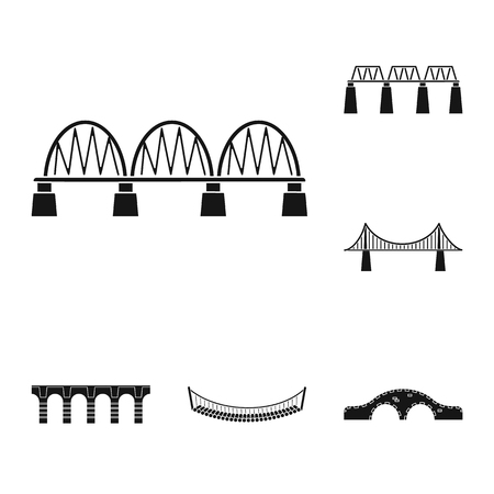 Isolated object of construct and side sign. Collection of construct and bridge vector icon for stock. Çizim
